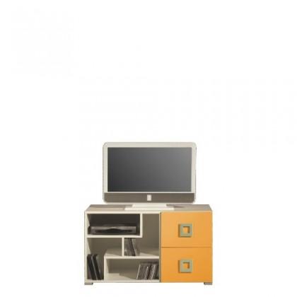 TV, Hifi stolek  - dřevěný LABYRINT LA 10 (krémová/oranžová)