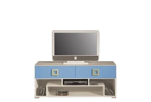 TV, Hifi stolek  - dřevěný LABYRINT LA 11 (krémová/modrá)