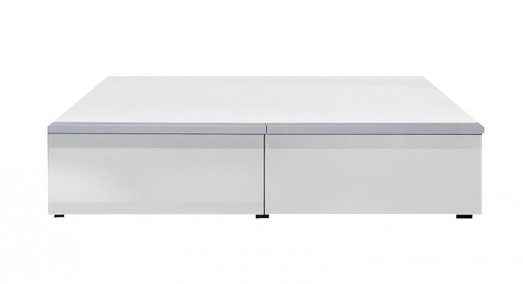 TV, Hifi stolek  - dřevěný Linea - TV stolek (bílá/bílá HG/stříbrná)