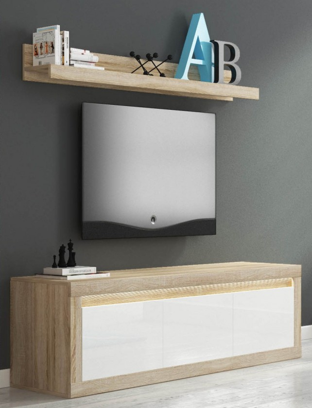 TV, Hifi stolek  - dřevěný Lino II - TV komoda, závěsná police, RGB (sonoma/bílá lesk)