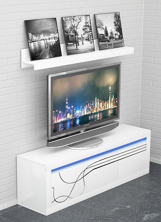 TV, Hifi stolek  - dřevěný Lino - Nízká TV komoda, závěsná police (bílá)