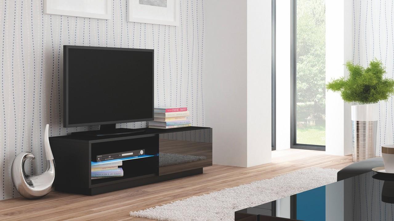 TV, Hifi stolek  - dřevěný Livo - TV stolek 120 stojící (černá mat/černá lesk)