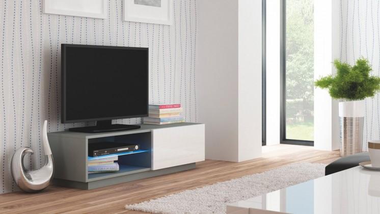 TV, Hifi stolek  - dřevěný Livo - TV stolek 120 stojící (šedá mat/bílá lesk)