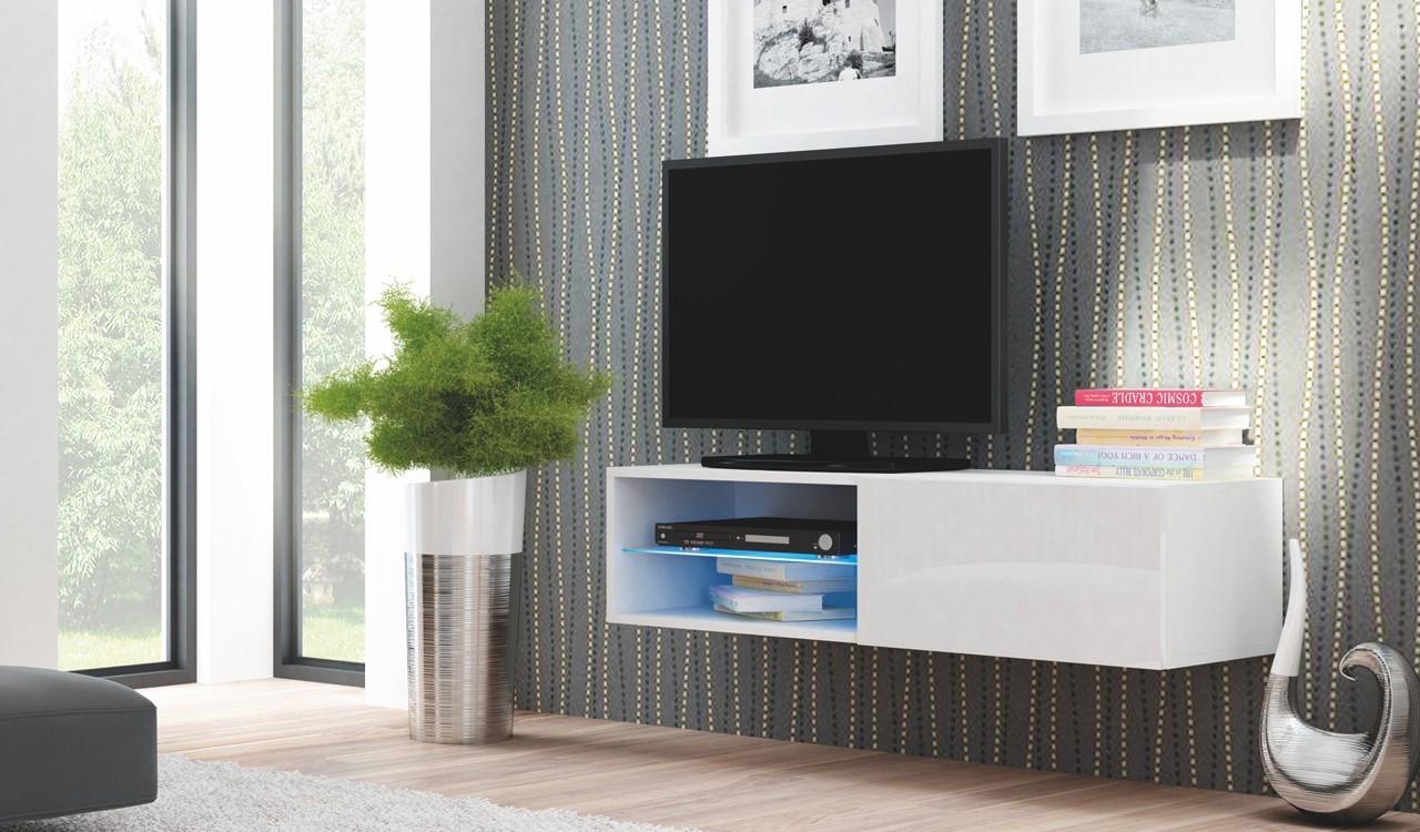 TV, Hifi stolek  - dřevěný Livo - TV stolek 120 závěsný (bílá mat/bílá lesk)