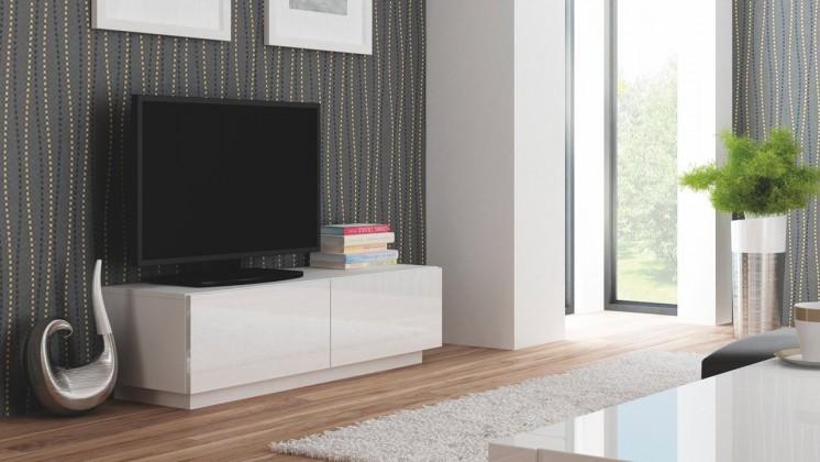 TV, Hifi stolek  - dřevěný Livo - TV stolek 160 stojící (bílá mat/bílá lesk)