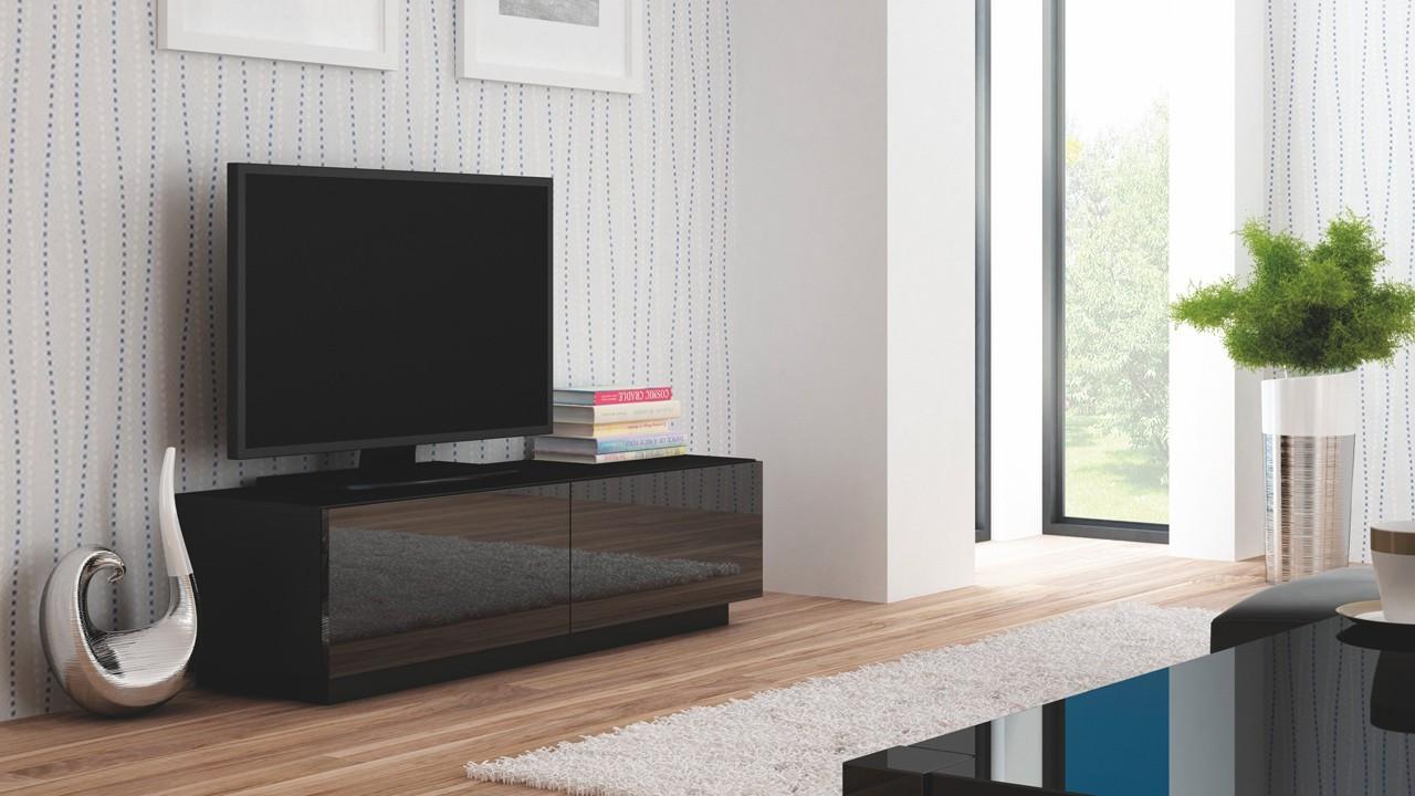 TV, Hifi stolek  - dřevěný Livo - TV stolek 160 stojící (černá mat/černá lesk)
