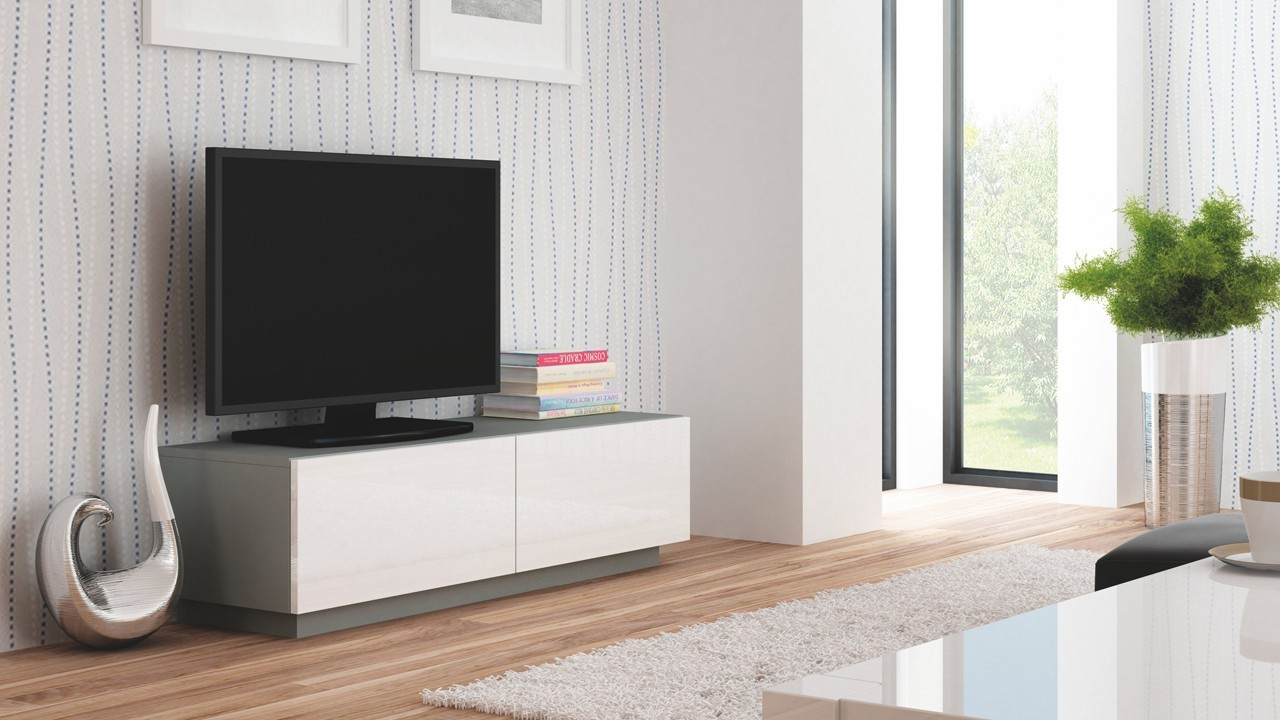 TV, Hifi stolek  - dřevěný Livo - TV stolek 160 stojící (šedá mat/bílá lesk)