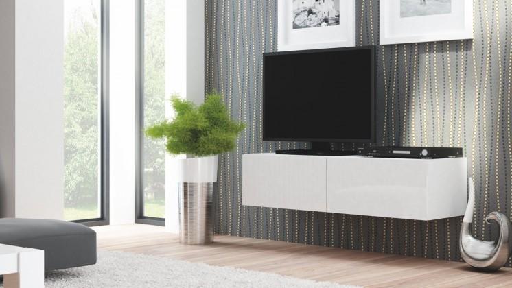 TV, Hifi stolek  - dřevěný Livo - TV stolek 160 závěsný (bílá mat/bílá lesk)