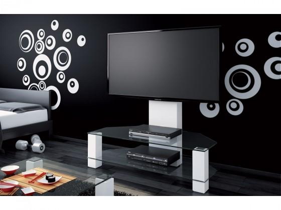 TV, Hifi stolek  - dřevěný Lugano - TV stolek s držákem (bílá vysoký lesk/sklo číré)