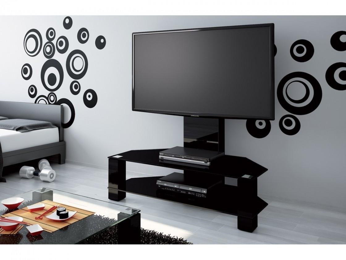TV, Hifi stolek  - dřevěný Lugano - TV stolek s držákem (černá vysoký lesk/sklo černé)