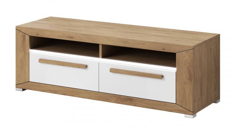 TV, Hifi stolek  - dřevěný Lumi - TV stolek, 2 zásuvky (dub beaufort, bílý lesk)
