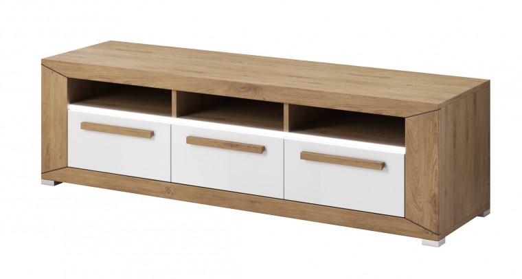 TV, Hifi stolek - dřevěný lumi - tv stolek, 3 zásuvky (dub beaufort, bílý lesk)