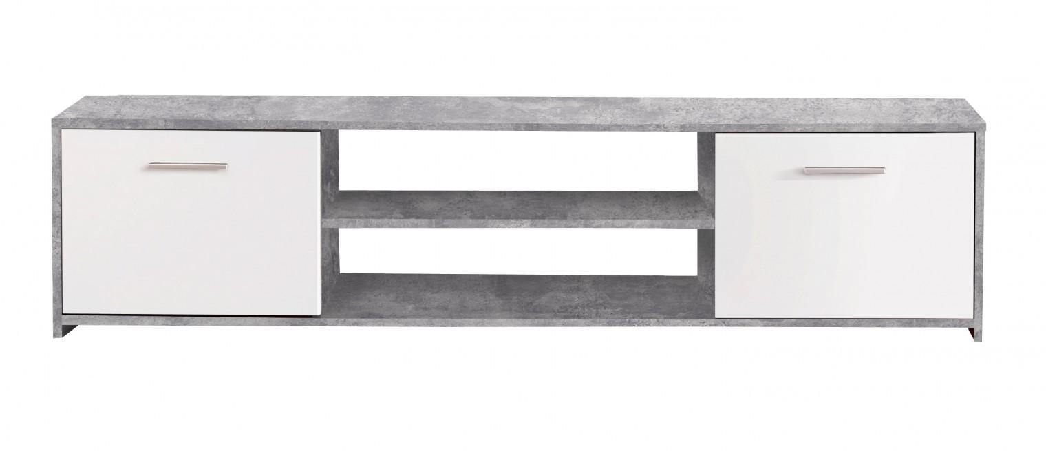 TV, Hifi stolek  - dřevěný Paco - TV stolek PCOT131 (C264 - beton - korpus/bílé fronty)