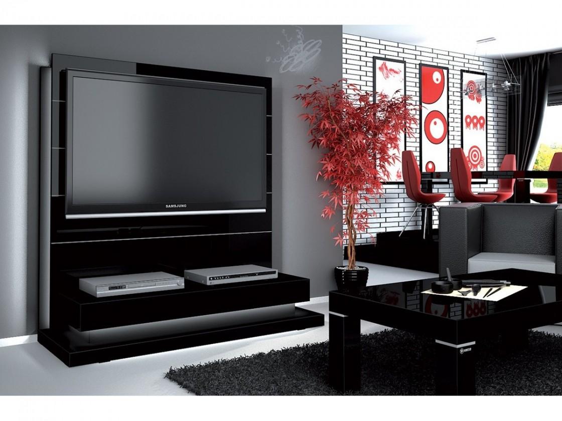 TV, Hifi stolek  - dřevěný Panorama lux - TV stolek s držákem (černá vysoký lesk)