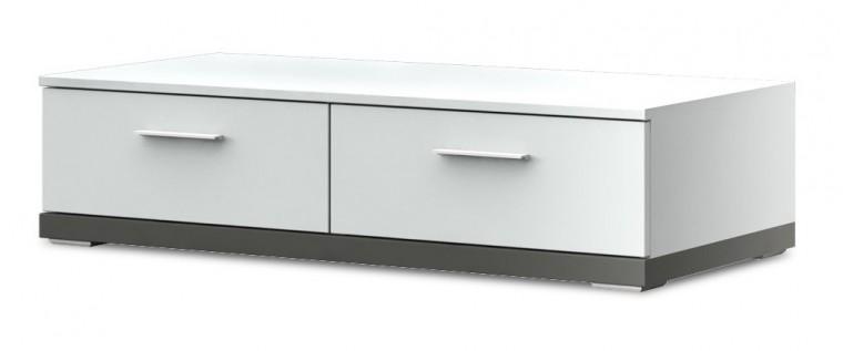 TV, Hifi stolek  - dřevěný Portoriko Typ 10 (Bílá Arctic/Grafit matný)