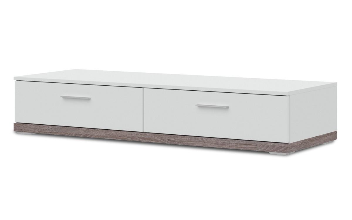 TV, Hifi stolek  - dřevěný Portoriko - Typ 11 (bílá/bílá vysoký lesk/dub truffel)
