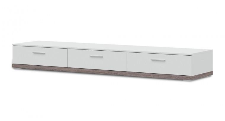 TV, Hifi stolek  - dřevěný Portoriko - Typ 20 (bílá/bílá vysoký lesk/dub truffel)