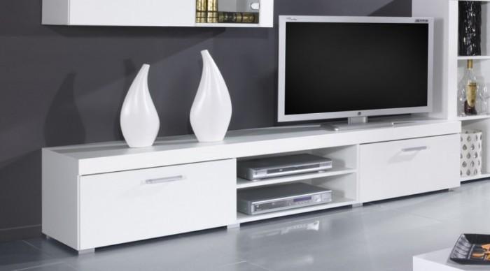 TV, Hifi stolek  - dřevěný Samba - TV skříň (bílá mat - korpus / bílá lesk - fronty)