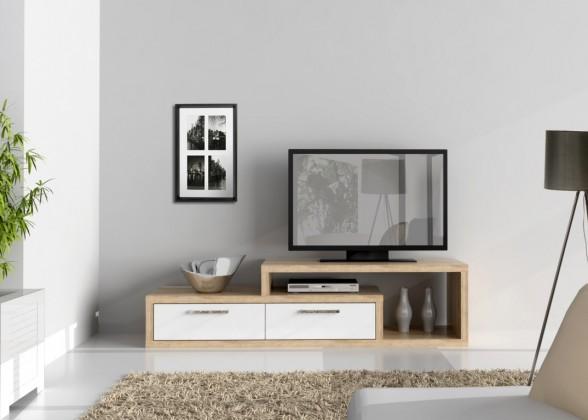 TV, Hifi stolek  - dřevěný Shine SHNT02-Q34(dub sonoma/bílá lesk)