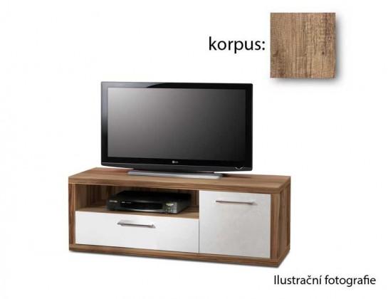 TV, Hifi stolek  - dřevěný Shine SHNT11-P96(dub antik/bílá lesk)