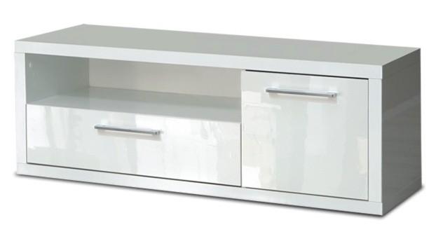 TV, Hifi stolek  - dřevěný Shine - TV komoda, 2x zásuvka (bílá lesk)