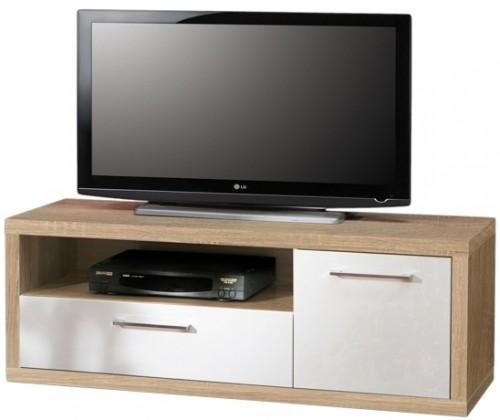 TV, Hifi stolek  - dřevěný Shine - TV komoda, 2x zásuvka (dub sonoma/bílá lesk)