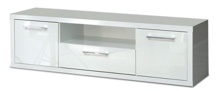 TV, Hifi stolek  - dřevěný Shine - TV komoda, 3x zásuvka (bílá lesk)