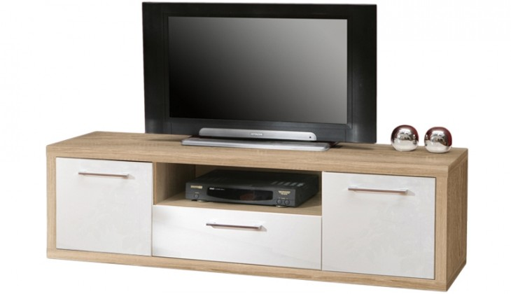 TV, Hifi stolek  - dřevěný Shine - TV komoda, 3x zásuvka (dub sonoma/bílá lesk)