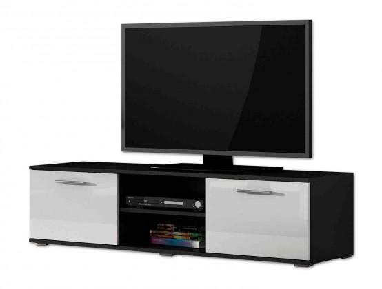 TV, Hifi stolek  - dřevěný Soho - TV komoda (černý mat / bílá vysoký lesk, RTV '140')