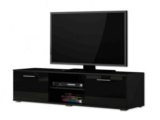 TV, Hifi stolek  - dřevěný Soho - TV komoda (černý mat / černá vysoký lesk, RTV '140')