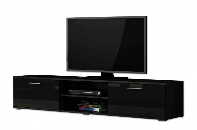 TV, Hifi stolek  - dřevěný Soho - TV komoda (černý mat / černá vysoký lesk, RTV '180' )