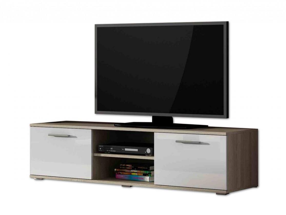 TV, Hifi stolek  - dřevěný Soho - TV komoda (dub sonoma / bílá lesk, RTV '140')