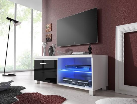 TV, Hifi stolek  - dřevěný TV 1 - TV stolek (bílá/černá)