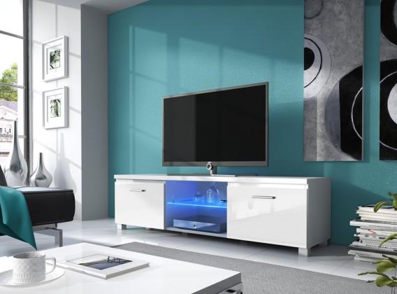 TV, Hifi stolek  - dřevěný TV 2 - TV stolek (bílá/bílá)