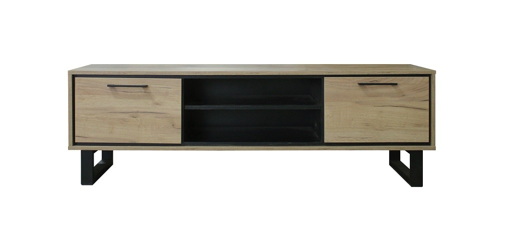 TV, Hifi stolek  - dřevěný TV stolek Brick (dub, černá)