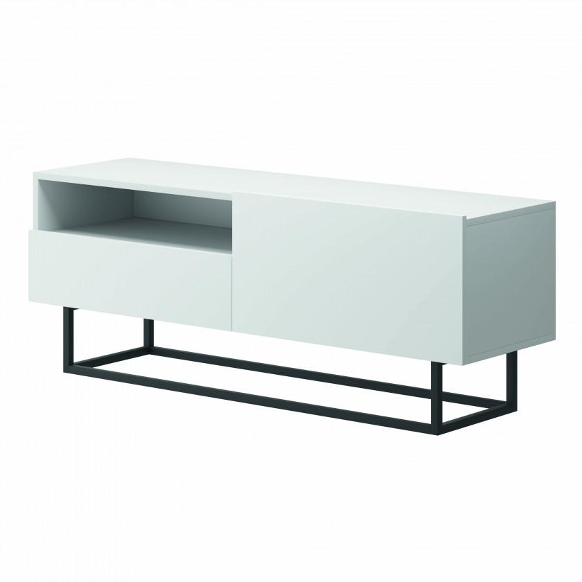 TV, Hifi stolek  - dřevěný TV stolek Duva (zásuvka, bílá)