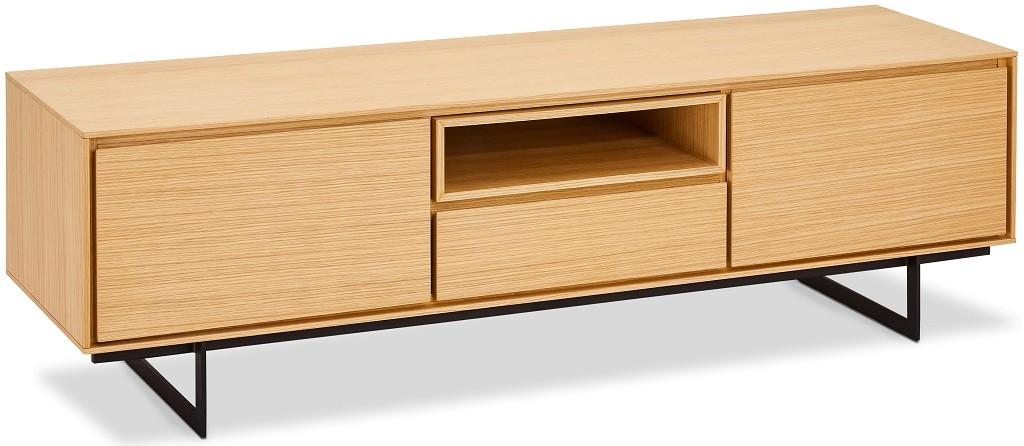 TV, Hifi stolek  - dřevěný TV stolek Lure (1 zásuvka, 2x dveře, dub, černá)