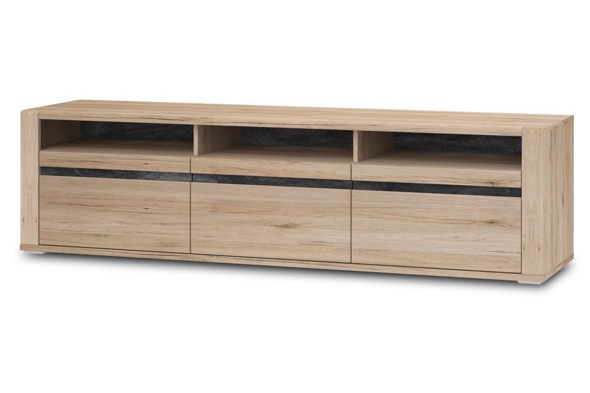 TV, Hifi stolek  - dřevěný TV stolek Minneota Typ 32 (dub sanremo pískový/břidlice)