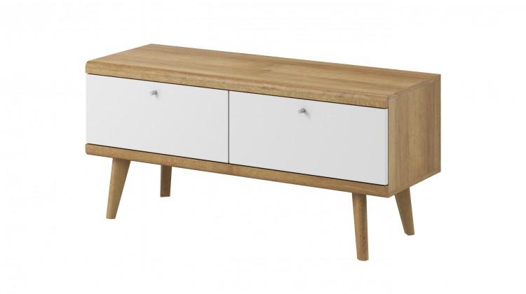 TV, Hifi stolek  - dřevěný TV stolek Primo (dub riviera, bílá)