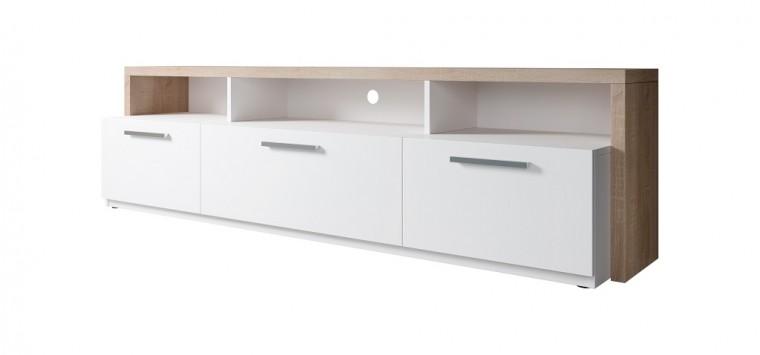 TV, Hifi stolek  - dřevěný TV stolek Segan (dub sonoma, bílá)