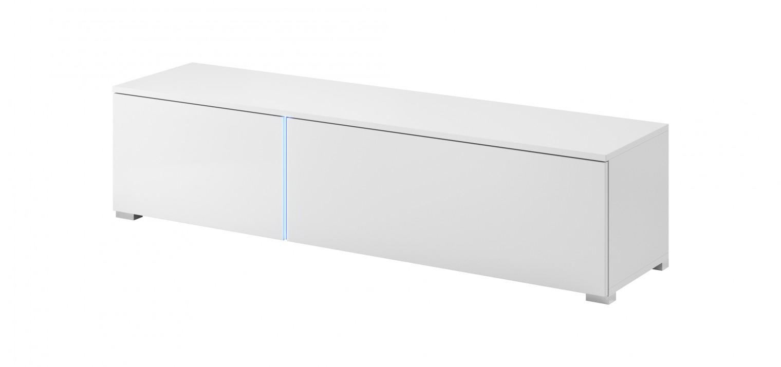TV, Hifi stolek  - dřevěný TV stolek Simple (bílá, bílá lesk)