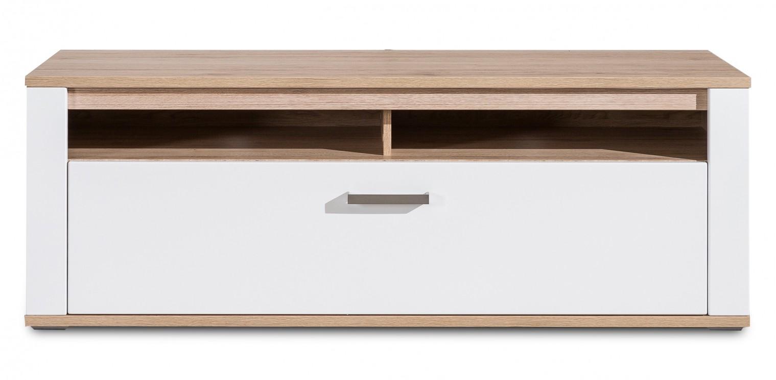 TV, Hifi stolek  - dřevěný Varino Typ 32 (san remo sand LDTD/bílá arctic vysoký lesk MDF)