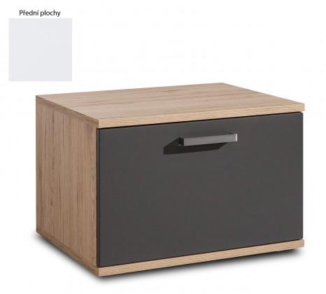TV, Hifi stolek  - dřevěný Varino Typ 33 (san remo sand LDTD/bílá arctic vysoký lesk MDF)