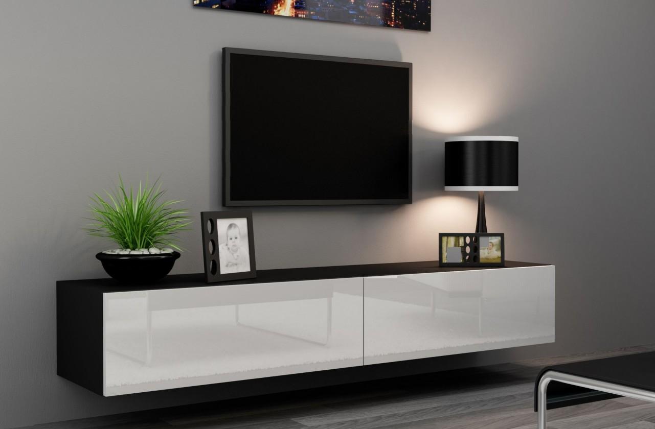 TV, Hifi stolek  - dřevěný Vigo (korpus černá / fronty bílá VL)