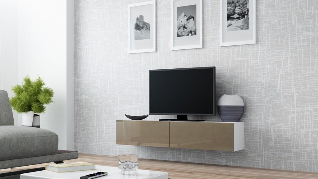 TV, Hifi stolek  - dřevěný Vigo - TV komoda 140 (bílá/latte lesk)