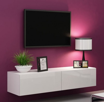 TV, Hifi stolek  - dřevěný Vigo - TV komoda 140 (bílá mat/bílá VL)