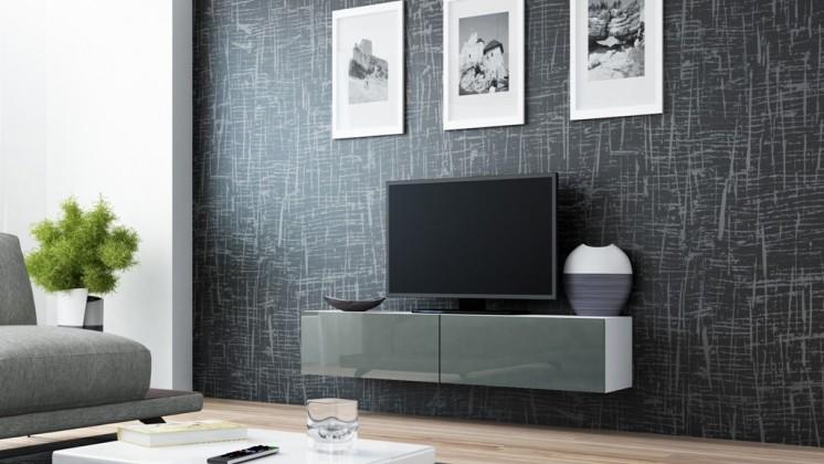TV, Hifi stolek  - dřevěný Vigo - TV komoda 140 (bílá/šedá lesk)