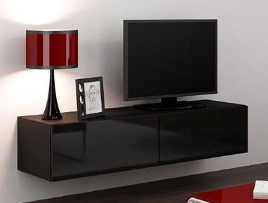 TV, Hifi stolek  - dřevěný Vigo - TV komoda 140 (černá mat/černá VL)