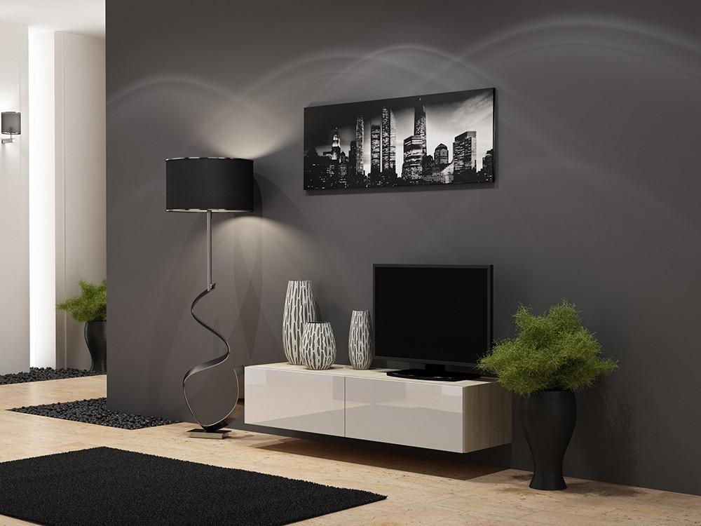 TV, Hifi stolek  - dřevěný Vigo - TV komoda 140 (dub sonoma/bílá lesk)