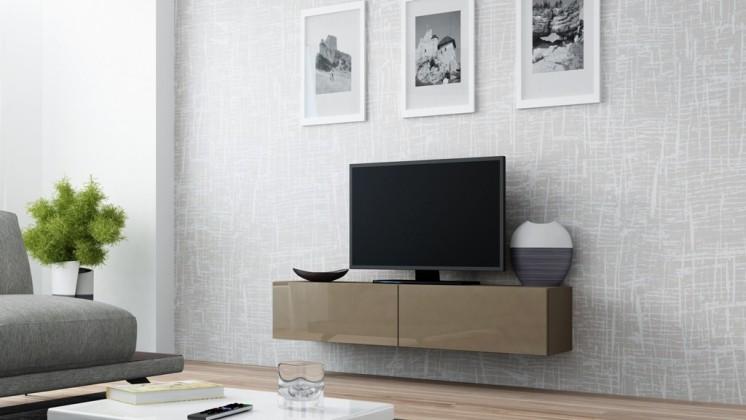TV, Hifi stolek  - dřevěný Vigo - TV komoda 140 (latte/latte lesk)